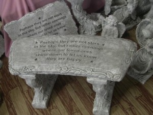 Stars Concrete Bench or plaque Bench - $110.00  Plaque - $65.00 Includes a silk spray to attach Sympathy card to. in Jerusalem, OH | Malaga Garden Center