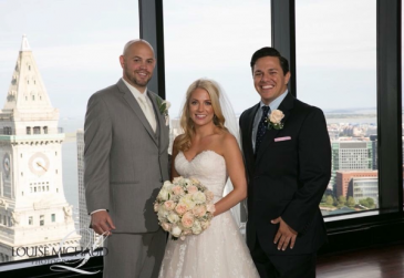 State room wedding with a view of skyline Blush and ivory wedding bouuquet