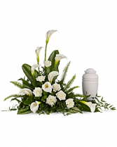 Stately Calla Lilies Arrangement- urn not included