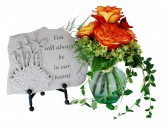 STEPPING STONE HONOR Call us for our selection of stepping stones engraved with sentiments and choose how it is decorated. We also offer heavy duty easels and garden stands for the stones.