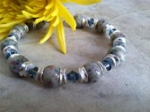 Sterling Silver Chip and Cap Bracelet