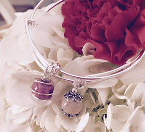 Sterling Bangle with Bead Charm  in Wilton, NH | WORKS OF HEART FLOWERS