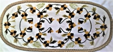 Needle Point Oval Table Runner