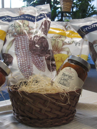 Gift Baskets. Stonewall Kitchen Chips and Salsa Blue Corn, Yellow Corn Chips and Mango Lime Salsa