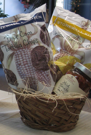 Gift Baskets. Stonewall Kitchen Chips and Salsa Blue Corn, Yellow Corn Chips and Mild Tomato Salsa