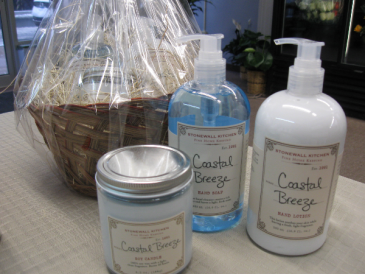 Stonewall Kitchen Hand Soap, Lotion and Candle  Coastal Breeze Gift Basket
