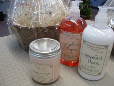 Stonewall Kitchen Hand Soap, Lotion and Candle Grapefruit Thyme Gift Basket