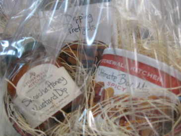 Stonewall Kitchen Snack Basket Dipping Pretzels, Sriracha Honey Mustard Dip and Spicy Ultimate Snack Mix