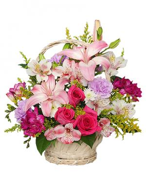 Straight From The Heart Basket Arrangement in King George, VA | FLOWERS FOR THE FOUR SEASONS