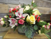 Strawberries and Cream Cylinder Arrangement
