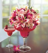 Strawberry Floral Margarita  Fan Bouquet