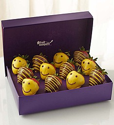 Strawberry Smiles  1 Dozen Chocolate Dipped Strwberry Box