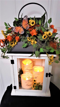 Strength and comfort triple candle memorial lantern