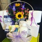 STRESS RELIEF FLORAL BASKET & TOILETRY ESSENTIALS NO-CONTACT DELIVERY OR CURBSIDE PICK UP