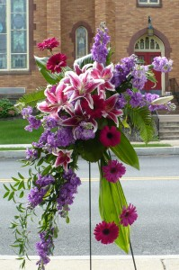 Striking Design of Lilies, Gerbera, Stock Shown at $155.00