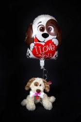 Stuffed Puppy Dog with Mylar Balloon Plush