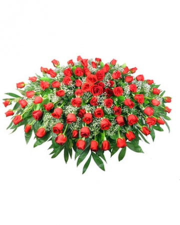 Stuningly Pretty Red Rose Casket Spray Funeral Arrangement