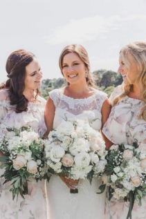 Stunnig bride and brides maids Blush and ivory bouquets