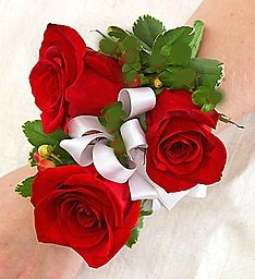 Stunning 3 Red Rose Wrist Corsage