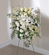 Stunning All white Spray Funeral & Sympathy Arrangement