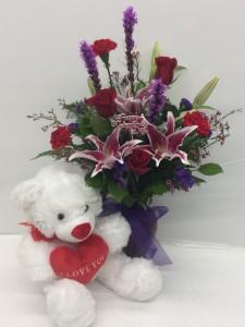 stunning beauty with bear arrangement in troy mi dellau0027s maple lane florist