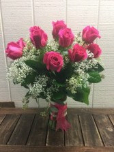 STUNNING HOT PINK ROSES Vase Arrangement