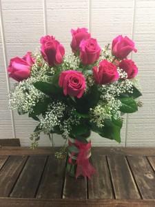 STUNNING HOT PINK ROSES Vase Arrangement