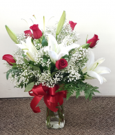 Stunning Lilies and Roses   FHF1001 Vase Arrangement