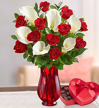 Stunning Red Rose & Calla Lilies with chocolate