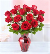 Tell Me You Love Me 12 or 18 Red Roses in Beautiful Ruby Octogonal Vase