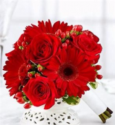 STYLISH RED BRIDESMAIDS BOUQUET