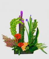 Stylized Bouquet Container Arrangement