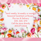 Subscription cut flowers no vase Subscription weekly, biweekly, monthly