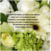 Subscription Whites & greens cut flowers Subscription Flowers