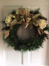 Subtle Winter Tones Silk Wreath Arrangement