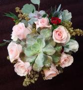Succulent and Novia Rose Bouquet Hand tied Bridal Bouquet