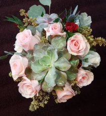 Succulent and Novia Rose Bouquet Hand tied Bridal Bouquet