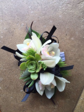 Succulent and Orchid Wrist Corsage