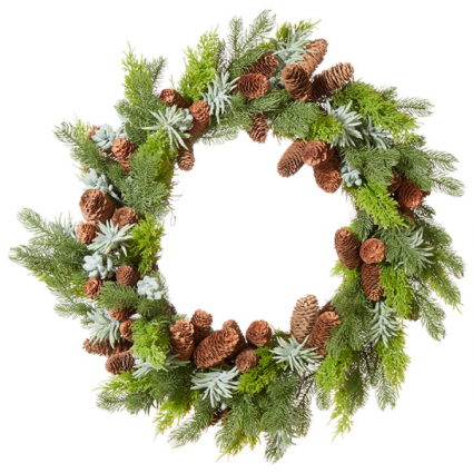 Succulent and Pine Wreath (Faux)
