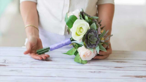 Succulent and Rose Hand Tied Bouquet  in Allen, TX | Lovejoy Flower and Gift Shop
