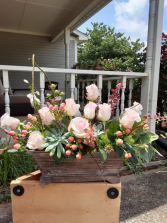 succulent and roses  combo wooden box with roses and succulent