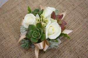 Succulent and White Rose Wrist Corsage  in Allen, TX | Lovejoy Flower and Gift Shop
