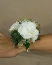 Succulent, White Ranuculus corsage