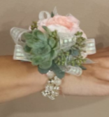 Succulent, Pink Spray Rose corsage