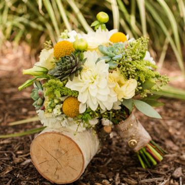 Succulent Garden Sunshine Bouquet Wedding