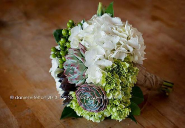 Succulent & Hydrangea Keepsake Design or DIY Arrangement