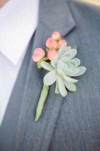 Succulent & Hypericum Boutonniere