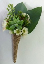 Succulent Wedding Boutonniere