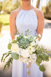 succulents and garden roses bridal bouquet