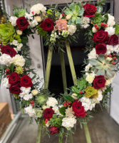 Succulents and Roses Heart Standing Spray